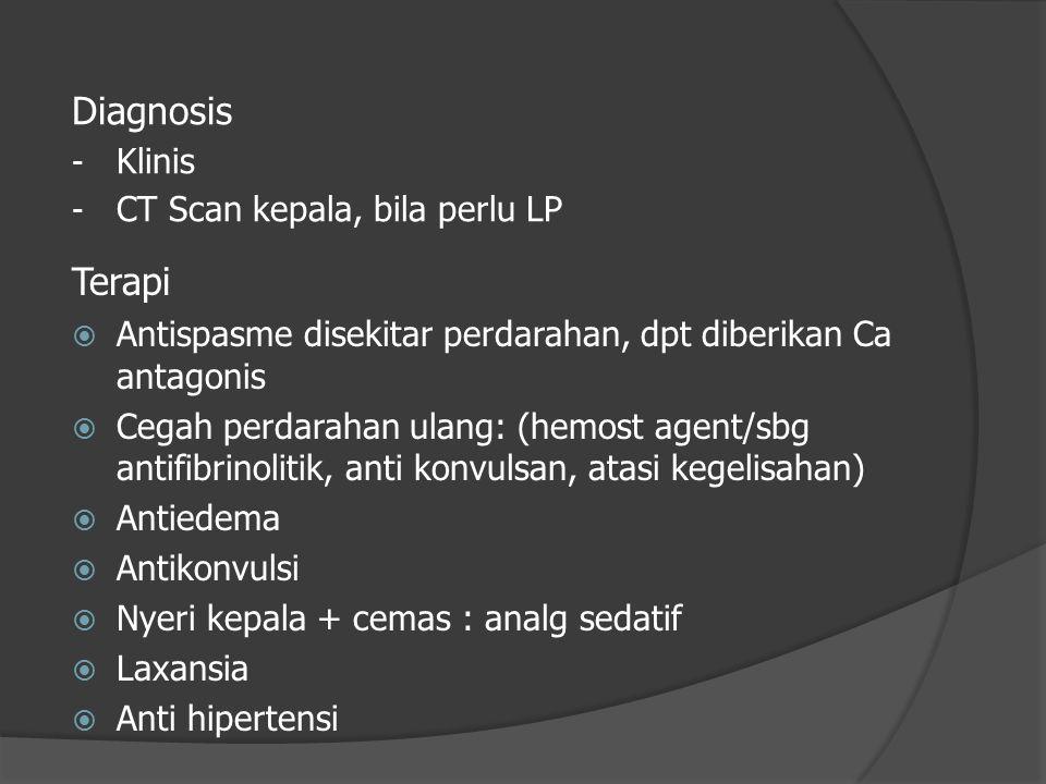 Terapi  Antispasme disekitar perdarahan, dpt diberikan Ca antagonis  Cegah perdarahan ulang: (hemost agent/sbg antifibrinolitik, anti konvulsan, ata