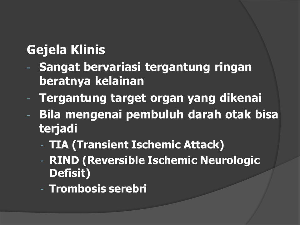 Gejela Klinis - Sangat bervariasi tergantung ringan beratnya kelainan - Tergantung target organ yang dikenai - Bila mengenai pembuluh darah otak bisa