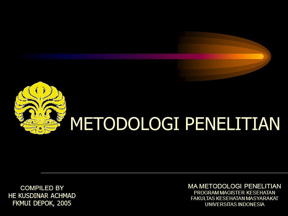 METODOLOGI PENELITIAN COMPILED BY HE KUSDINAR ACHMAD FKMUI DEPOK, 2005 MA METODOLOGI PENELITIAN PROGRAM MAGISTER KESEHATAN FAKULTAS KESEHATAN MASYARAKAT UNIVERSITAS INDONESIA
