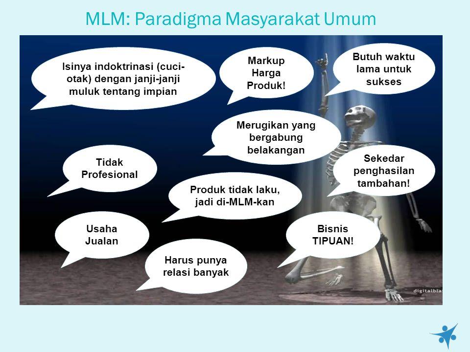 MLM: Paradigma Masyarakat Umum Usaha Jualan Tidak Profesional Produk tidak laku, jadi di-MLM-kan Markup Harga Produk.