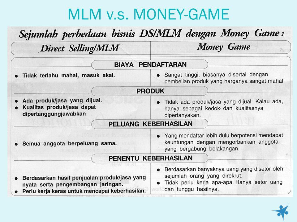 MLM v.s. MONEY-GAME Merebaknya praktek bisnis DS (Direct Selling/MLM(Multi Level Marketing) palsu yang mengarah ke permainan uang (money game) telah m