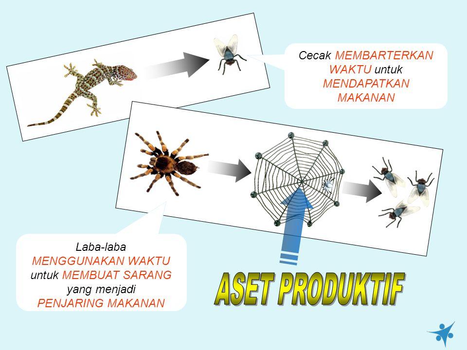 Cecak MEMBARTERKAN WAKTU untuk MENDAPATKAN MAKANAN Laba-laba MENGGUNAKAN WAKTU untuk MEMBUAT SARANG yang menjadi PENJARING MAKANAN