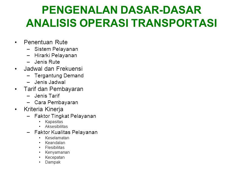 PENGENALAN DASAR-DASAR ANALISIS OPERASI TRANSPORTASI Penentuan Rute –Sistem Pelayanan –Hirarki Pelayanan –Jenis Rute Jadwal dan Frekuensi –Tergantung