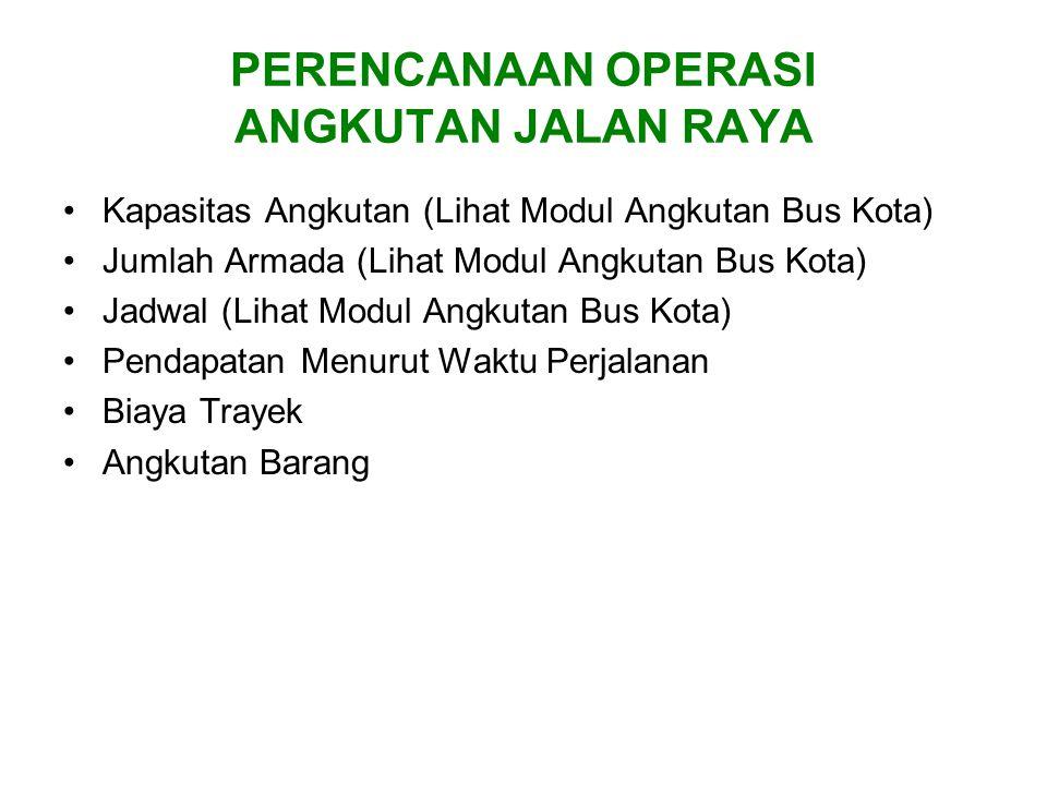 PERENCANAAN OPERASI ANGKUTAN JALAN RAYA Kapasitas Angkutan (Lihat Modul Angkutan Bus Kota) Jumlah Armada (Lihat Modul Angkutan Bus Kota) Jadwal (Lihat