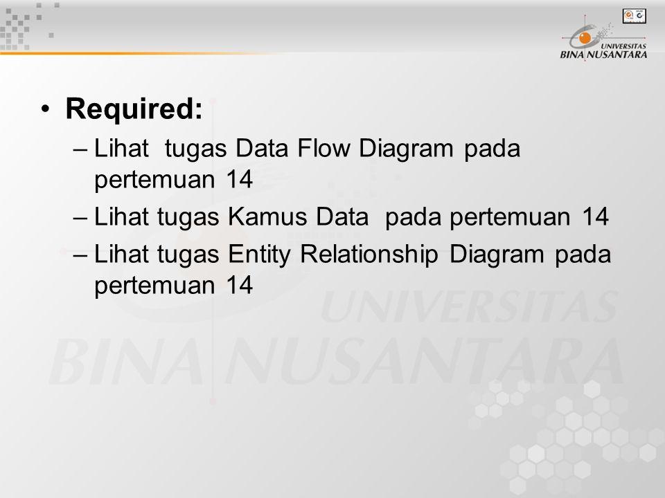 Required: –Lihat tugas Data Flow Diagram pada pertemuan 14 –Lihat tugas Kamus Data pada pertemuan 14 –Lihat tugas Entity Relationship Diagram pada pertemuan 14