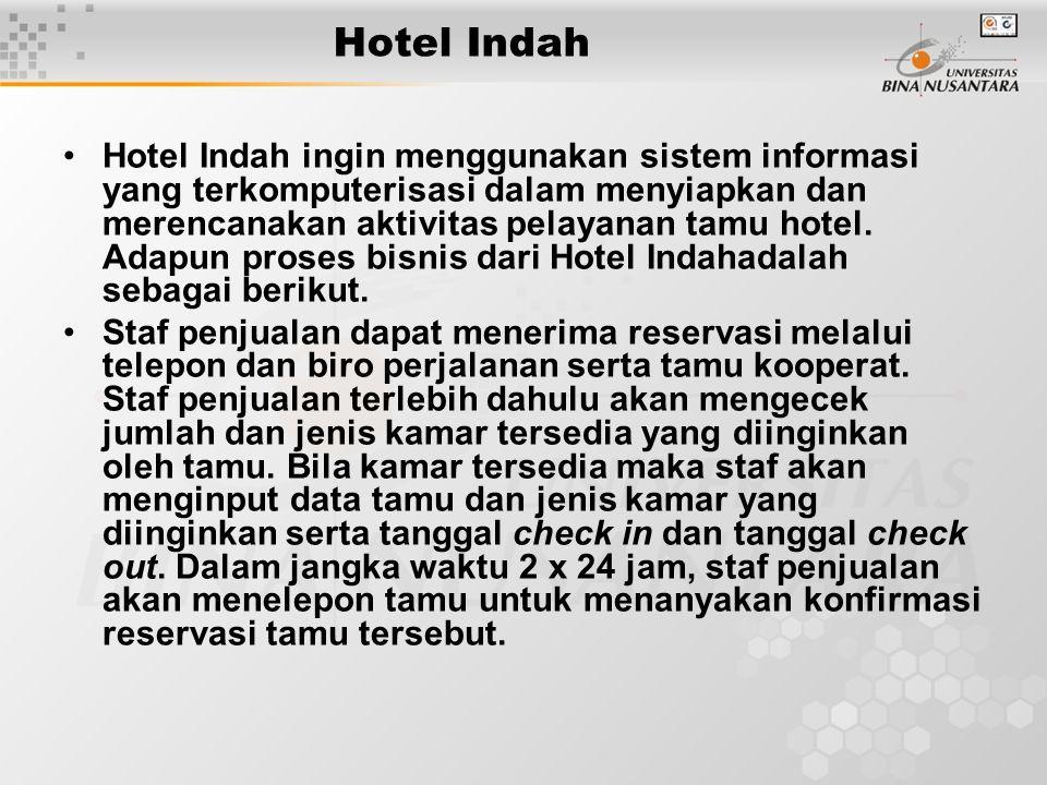 Hotel Indah Hotel Indah ingin menggunakan sistem informasi yang terkomputerisasi dalam menyiapkan dan merencanakan aktivitas pelayanan tamu hotel.
