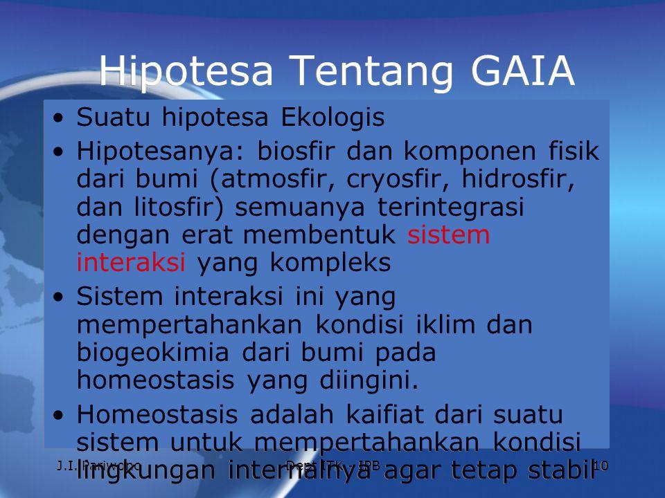 J.I. PariwonoDept ITK - IPB10 Hipotesa Tentang GAIA Suatu hipotesa Ekologis Hipotesanya: biosfir dan komponen fisik dari bumi (atmosfir, cryosfir, hid