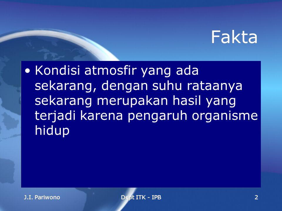 J.I. PariwonoDept ITK - IPB2 Fakta Kondisi atmosfir yang ada sekarang, dengan suhu rataanya sekarang merupakan hasil yang terjadi karena pengaruh orga