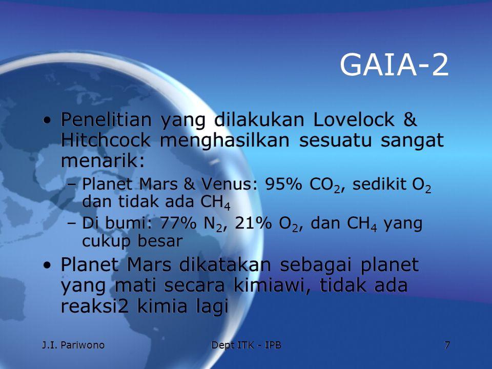 J.I. PariwonoDept ITK - IPB7 GAIA-2 Penelitian yang dilakukan Lovelock & Hitchcock menghasilkan sesuatu sangat menarik: –Planet Mars & Venus: 95% CO 2