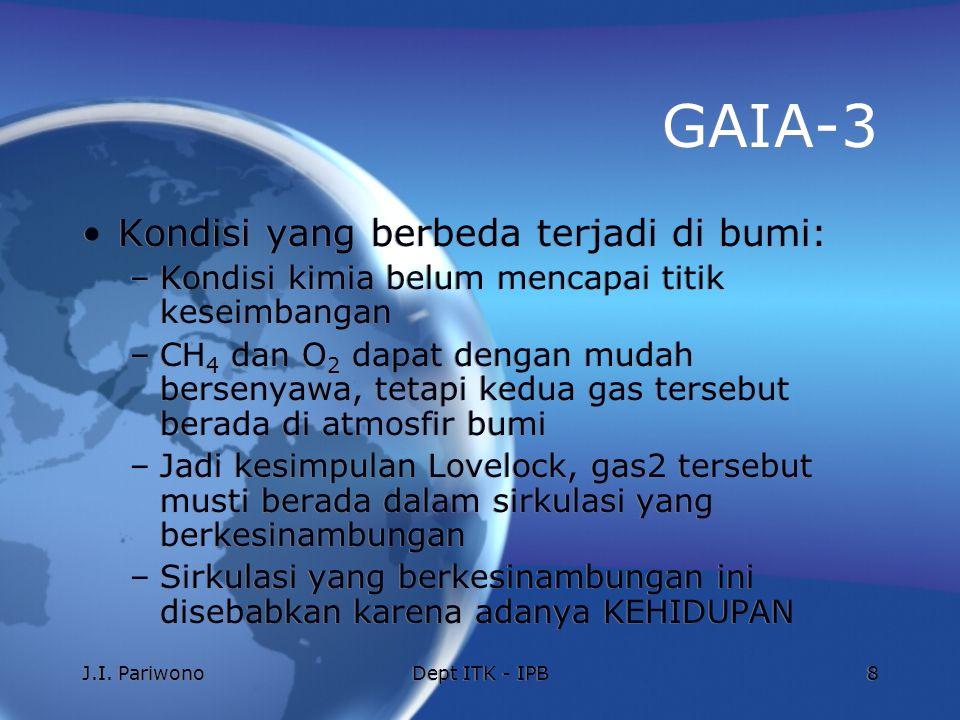J.I. PariwonoDept ITK - IPB8 GAIA-3 Kondisi yang berbeda terjadi di bumi: –Kondisi kimia belum mencapai titik keseimbangan –CH 4 dan O 2 dapat dengan