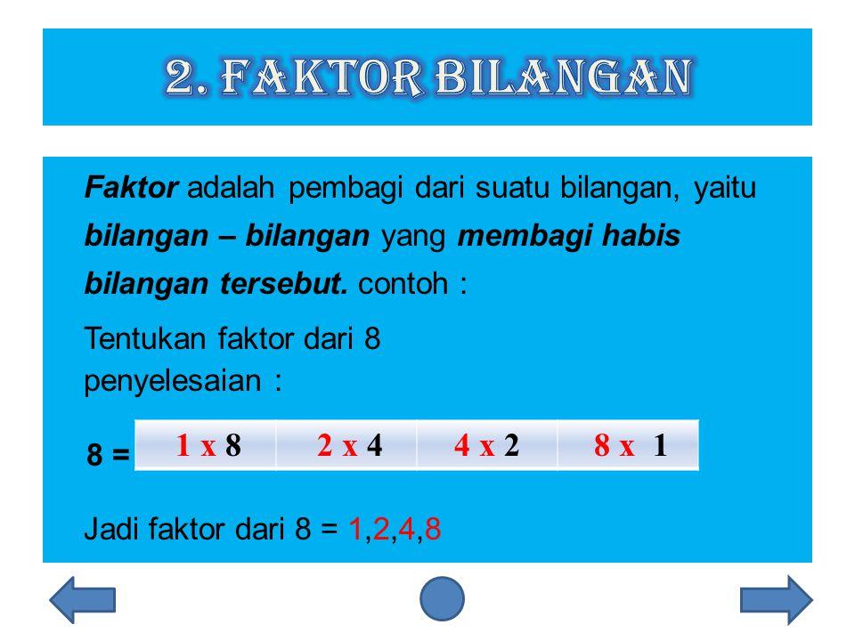Faktor adalah pembagi dari suatu bilangan, yaitu bilangan – bilangan yang membagi habis bilangan tersebut.