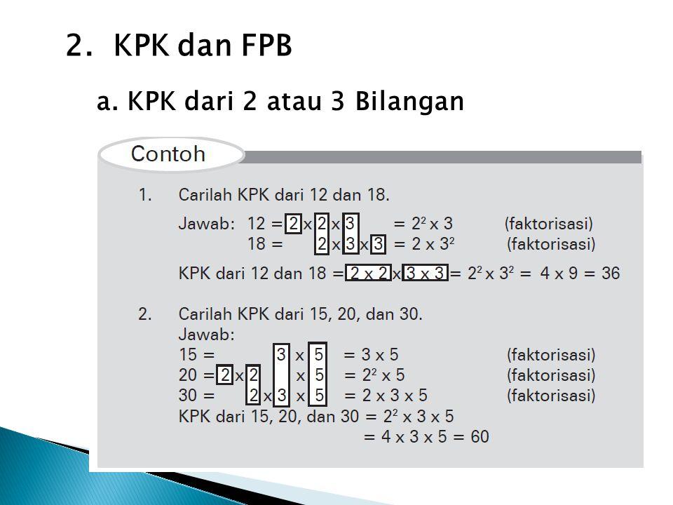 2. KPK dan FPB a. KPK dari 2 atau 3 Bilangan