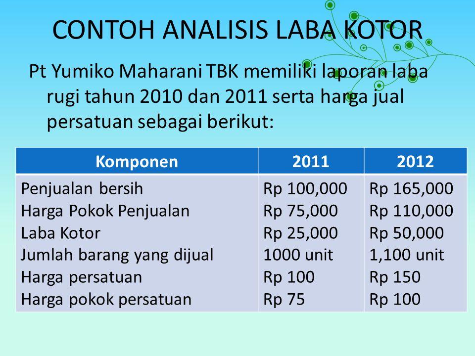 CONTOH ANALISIS LABA KOTOR Pt Yumiko Maharani TBK memiliki laporan laba rugi tahun 2010 dan 2011 serta harga jual persatuan sebagai berikut: Komponen2