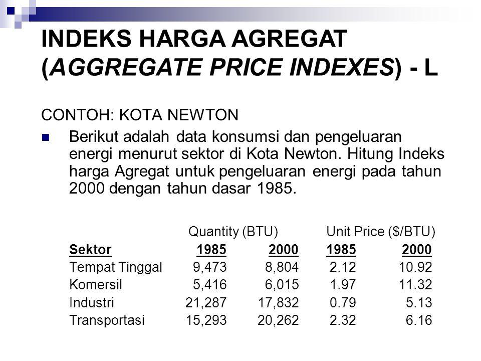 CONTOH: KOTA NEWTON Berikut adalah data konsumsi dan pengeluaran energi menurut sektor di Kota Newton.
