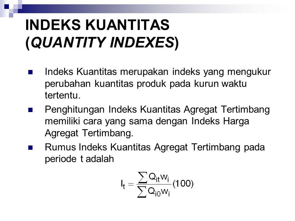 INDEKS KUANTITAS (QUANTITY INDEXES) Indeks Kuantitas merupakan indeks yang mengukur perubahan kuantitas produk pada kurun waktu tertentu.