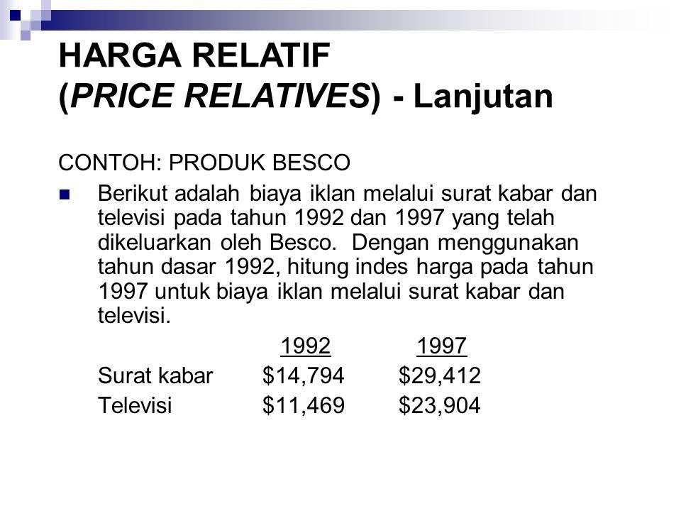 CONTOH: PRODUK BESCO Berikut adalah biaya iklan melalui surat kabar dan televisi pada tahun 1992 dan 1997 yang telah dikeluarkan oleh Besco.