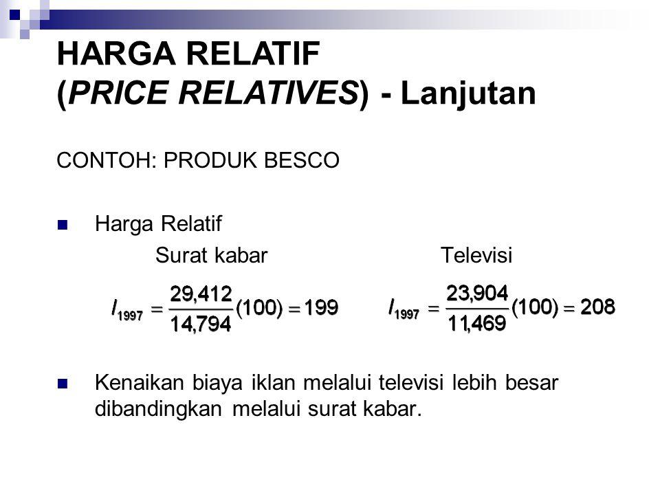 CONTOH: PRODUK BESCO Harga Relatif Surat kabar Televisi Kenaikan biaya iklan melalui televisi lebih besar dibandingkan melalui surat kabar.