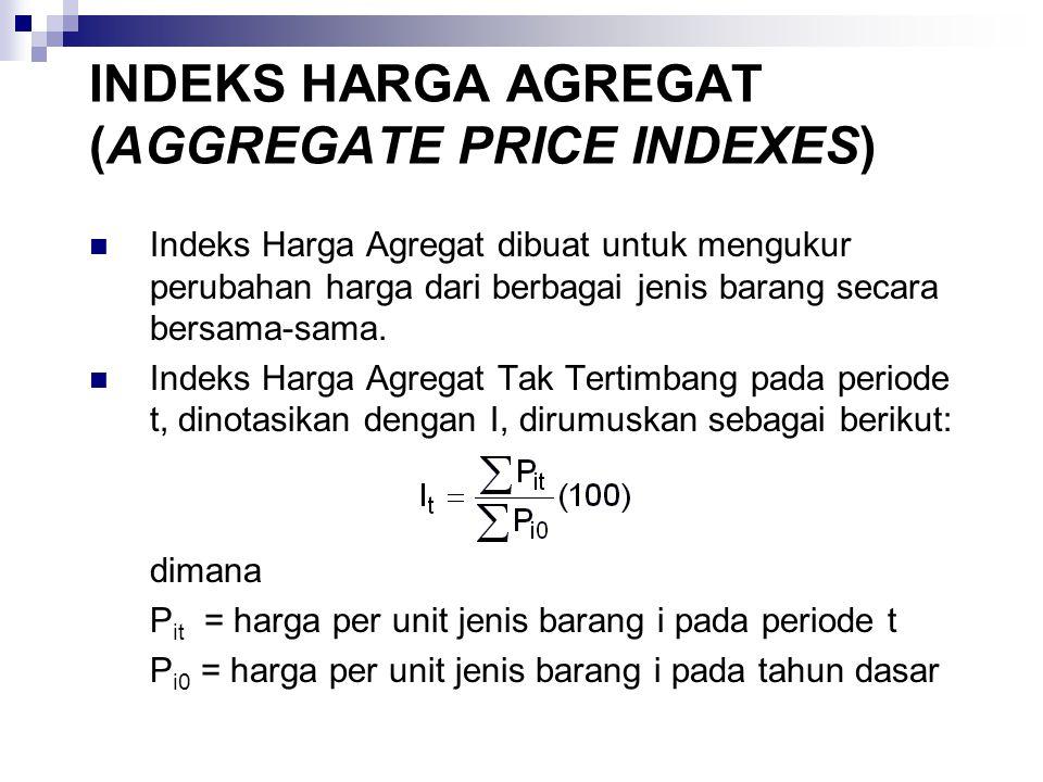INDEKS HARGA AGREGAT (AGGREGATE PRICE INDEXES) Indeks Harga Agregat dibuat untuk mengukur perubahan harga dari berbagai jenis barang secara bersama-sama.