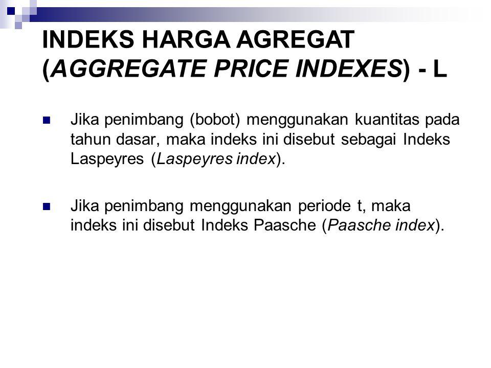 Jika penimbang (bobot) menggunakan kuantitas pada tahun dasar, maka indeks ini disebut sebagai Indeks Laspeyres (Laspeyres index).