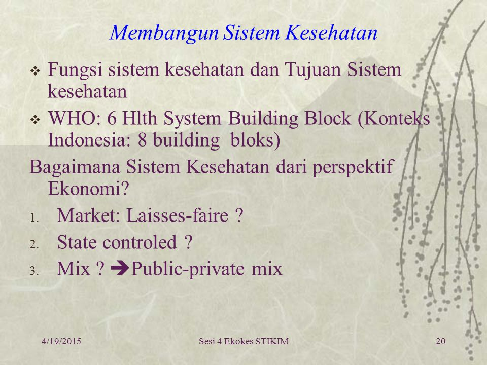 Sesi 4 Ekokes STIKIM Health System: functions and objectives 4/19/201521
