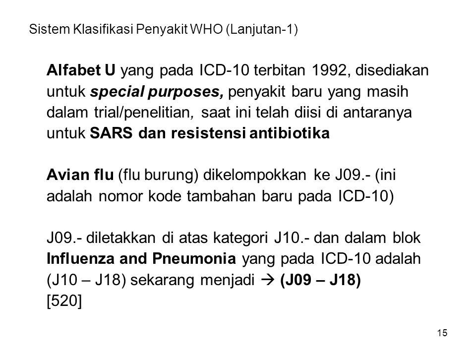 15 Sistem Klasifikasi Penyakit WHO (Lanjutan-1) Alfabet U yang pada ICD-10 terbitan 1992, disediakan untuk special purposes, penyakit baru yang masih dalam trial/penelitian, saat ini telah diisi di antaranya untuk SARS dan resistensi antibiotika Avian flu (flu burung) dikelompokkan ke J09.- (ini adalah nomor kode tambahan baru pada ICD-10) J09.- diletakkan di atas kategori J10.- dan dalam blok Influenza and Pneumonia yang pada ICD-10 adalah (J10 – J18) sekarang menjadi  (J09 – J18) [520]