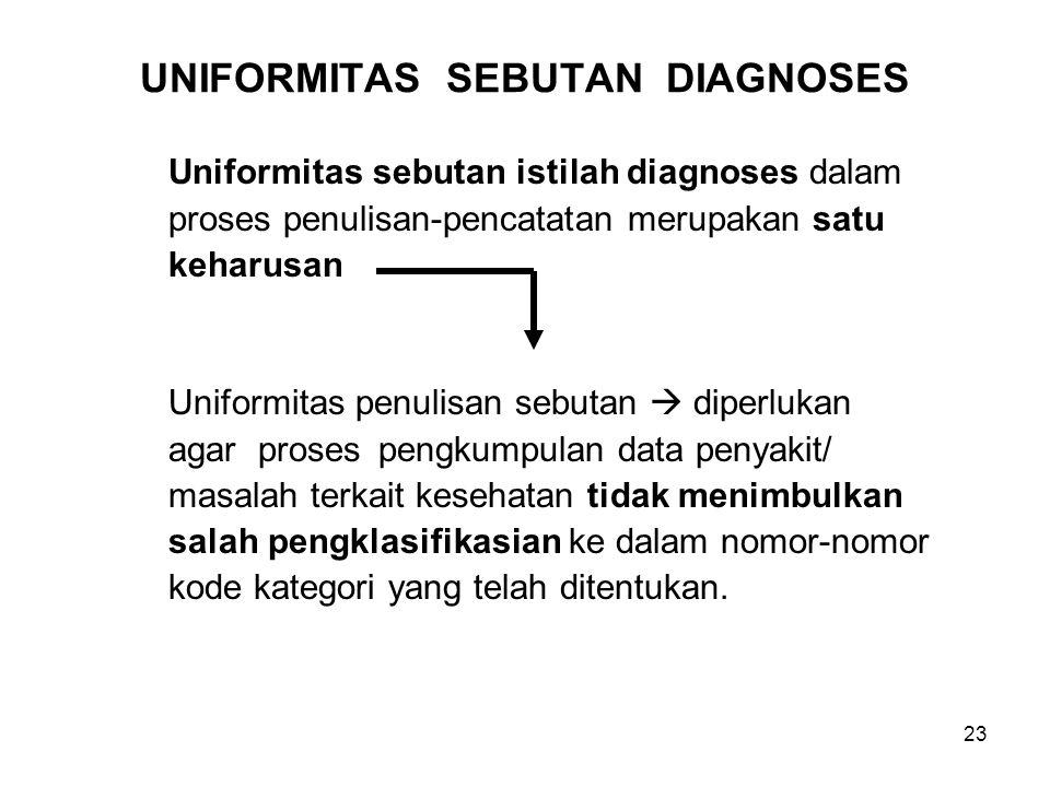 23 UNIFORMITAS SEBUTAN DIAGNOSES Uniformitas sebutan istilah diagnoses dalam proses penulisan-pencatatan merupakan satu keharusan Uniformitas penulisan sebutan  diperlukan agar proses pengkumpulan data penyakit/ masalah terkait kesehatan tidak menimbulkan salah pengklasifikasian ke dalam nomor-nomor kode kategori yang telah ditentukan.