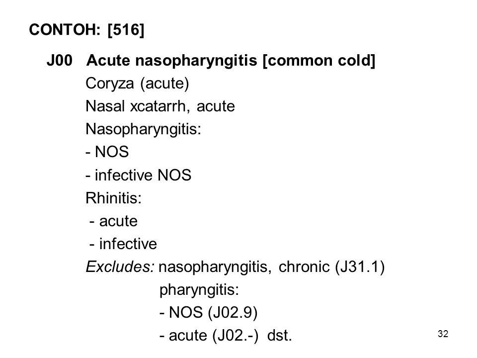 32 CONTOH: [516] J00 Acute nasopharyngitis [common cold] Coryza (acute) Nasal xcatarrh, acute Nasopharyngitis: - NOS - infective NOS Rhinitis: - acute - infective Excludes: nasopharyngitis, chronic (J31.1) pharyngitis: - NOS (J02.9) - acute (J02.-)dst.
