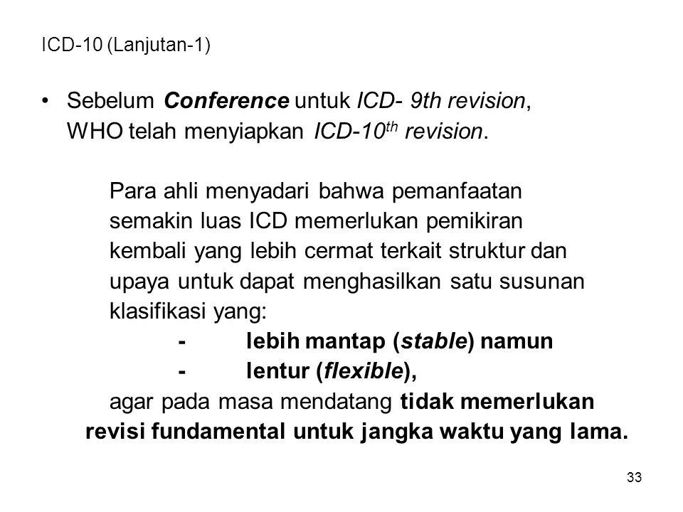 33 ICD-10 (Lanjutan-1) Sebelum Conference untuk ICD- 9th revision, WHO telah menyiapkan ICD-10 th revision.