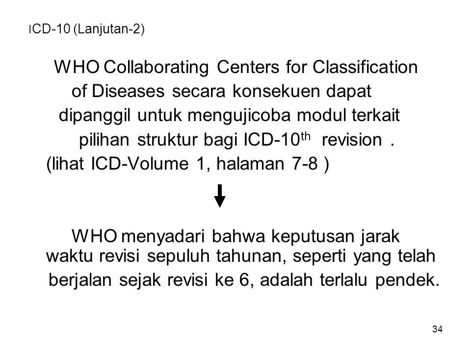 34 I CD-10 (Lanjutan-2) WHO Collaborating Centers for Classification of Diseases secara konsekuen dapat dipanggil untuk mengujicoba modul terkait pili