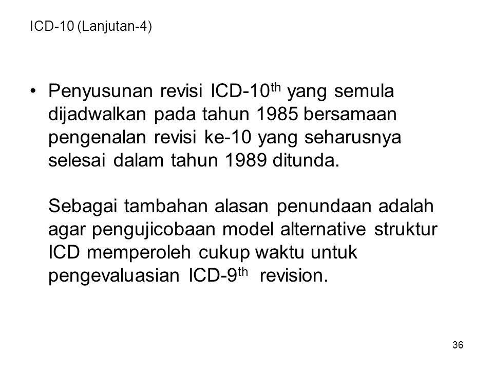 36 ICD-10 (Lanjutan-4) Penyusunan revisi ICD-10 th yang semula dijadwalkan pada tahun 1985 bersamaan pengenalan revisi ke-10 yang seharusnya selesai dalam tahun 1989 ditunda.