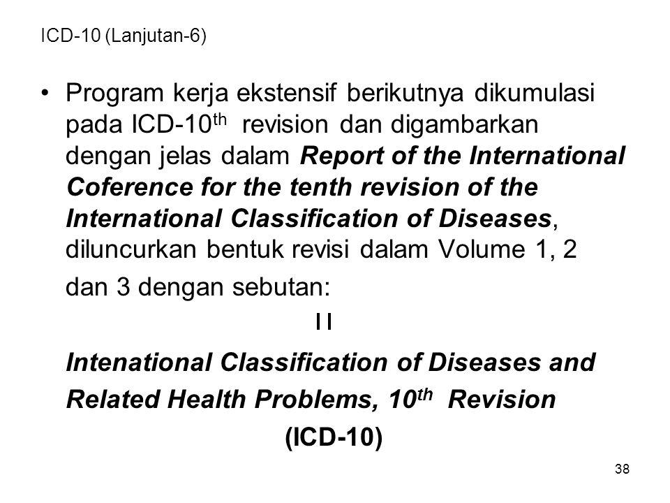 38 ICD-10 (Lanjutan-6) Program kerja ekstensif berikutnya dikumulasi pada ICD-10 th revision dan digambarkan dengan jelas dalam Report of the International Coference for the tenth revision of the International Classification of Diseases, diluncurkan bentuk revisi dalam Volume 1, 2 dan 3 dengan sebutan: Intenational Classification of Diseases and Related Health Problems, 10 th Revision (ICD-10)