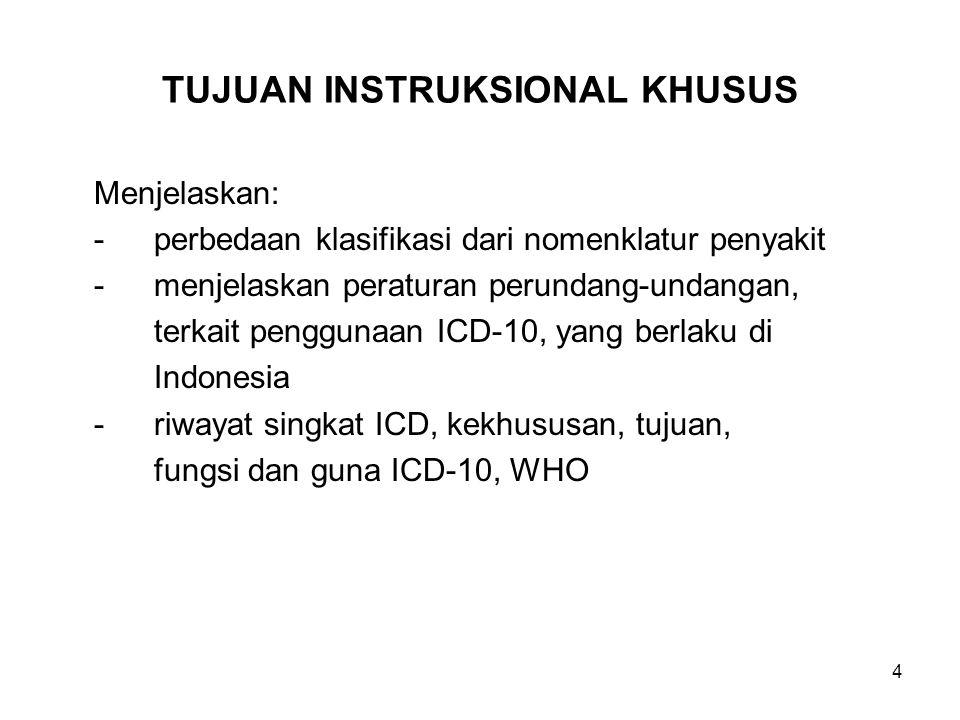 4 TUJUAN INSTRUKSIONAL KHUSUS Menjelaskan: -perbedaan klasifikasi dari nomenklatur penyakit -menjelaskan peraturan perundang-undangan, terkait penggunaan ICD-10, yang berlaku di Indonesia -riwayat singkat ICD, kekhususan, tujuan, fungsi dan guna ICD-10, WHO