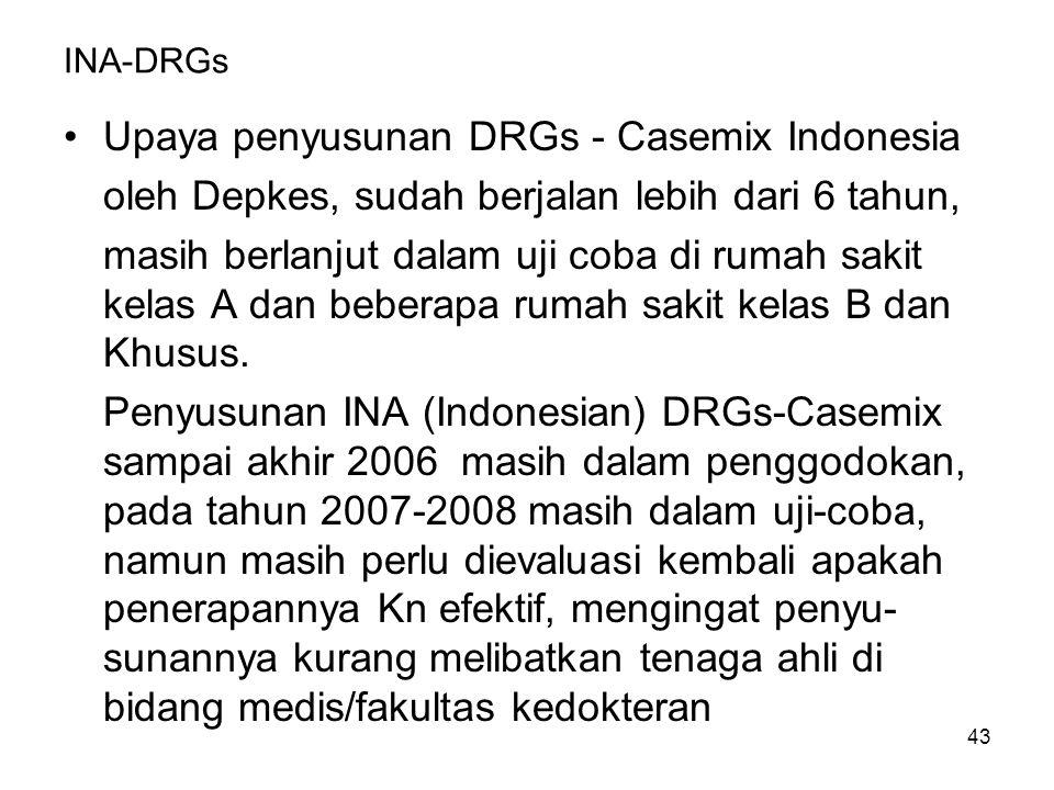 43 INA-DRGs Upaya penyusunan DRGs - Casemix Indonesia oleh Depkes, sudah berjalan lebih dari 6 tahun, masih berlanjut dalam uji coba di rumah sakit kelas A dan beberapa rumah sakit kelas B dan Khusus.