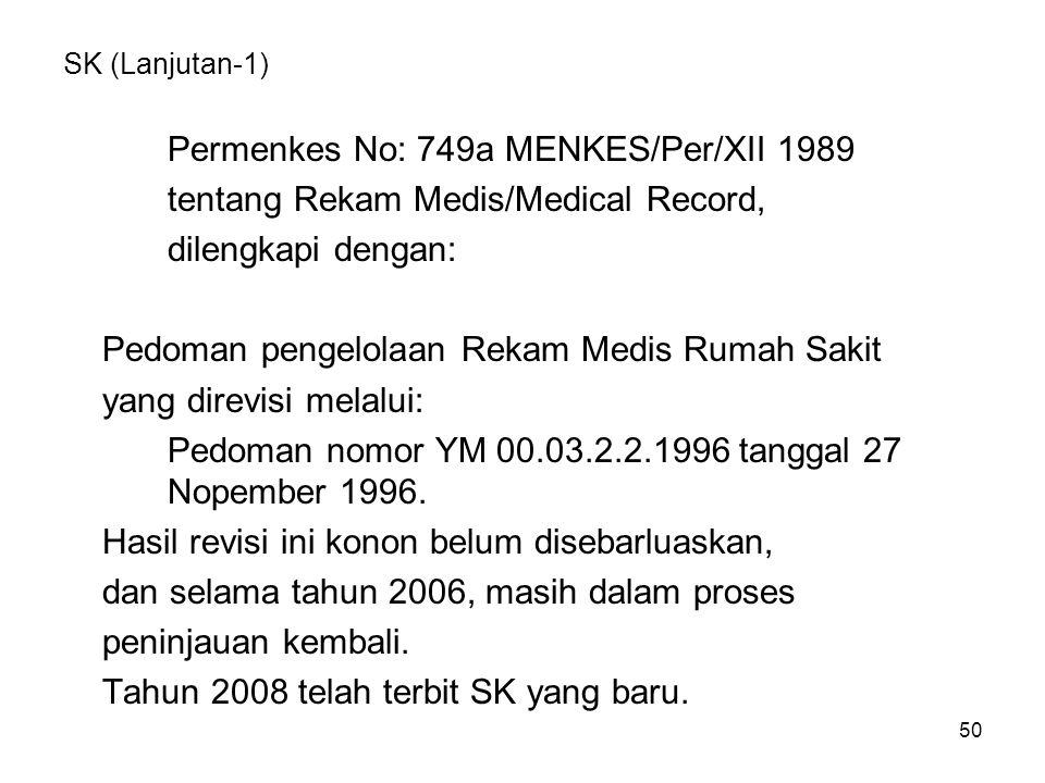 50 SK (Lanjutan-1) Permenkes No: 749a MENKES/Per/XII 1989 tentang Rekam Medis/Medical Record, dilengkapi dengan: Pedoman pengelolaan Rekam Medis Rumah Sakit yang direvisi melalui: Pedoman nomor YM 00.03.2.2.1996 tanggal 27 Nopember 1996.