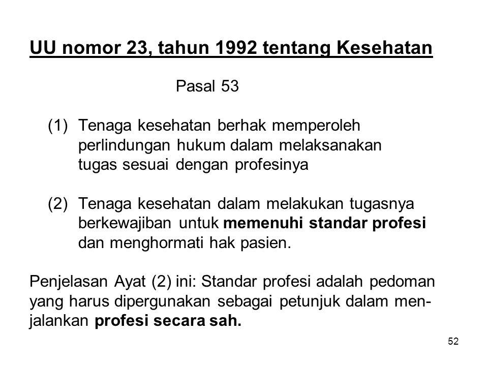 52 UU nomor 23, tahun 1992 tentang Kesehatan Pasal 53 (1) Tenaga kesehatan berhak memperoleh perlindungan hukum dalam melaksanakan tugas sesuai dengan profesinya (2)Tenaga kesehatan dalam melakukan tugasnya berkewajiban untuk memenuhi standar profesi dan menghormati hak pasien.