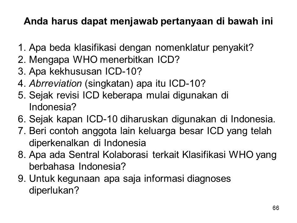 66 Anda harus dapat menjawab pertanyaan di bawah ini 1.Apa beda klasifikasi dengan nomenklatur penyakit.