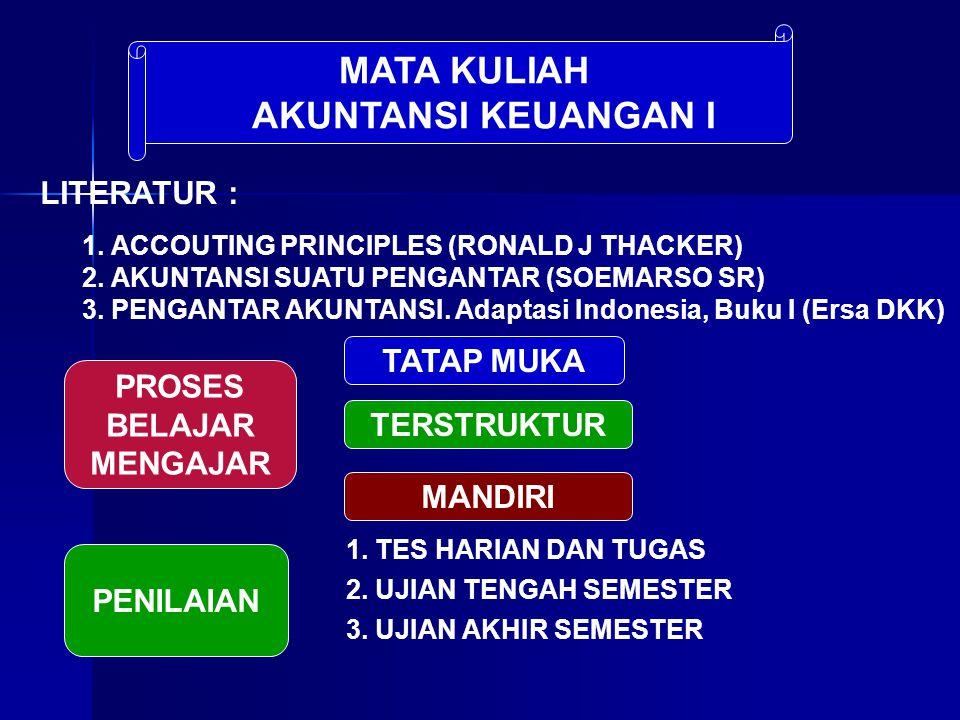MATA KULIAH AKUNTANSI KEUANGAN I LITERATUR : 1. ACCOUTING PRINCIPLES (RONALD J THACKER) 2. AKUNTANSI SUATU PENGANTAR (SOEMARSO SR) 3. PENGANTAR AKUNTA