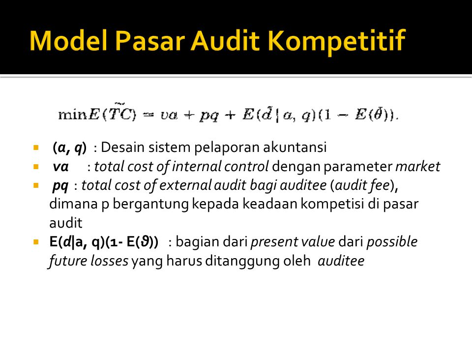  (a, q) : Desain sistem pelaporan akuntansi  va : total cost of internal control dengan parameter market  pq: total cost of external audit bagi aud