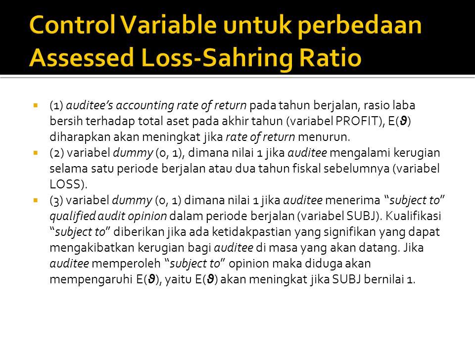  (1) auditee's accounting rate of return pada tahun berjalan, rasio laba bersih terhadap total aset pada akhir tahun (variabel PROFIT), E(θ) diharapk