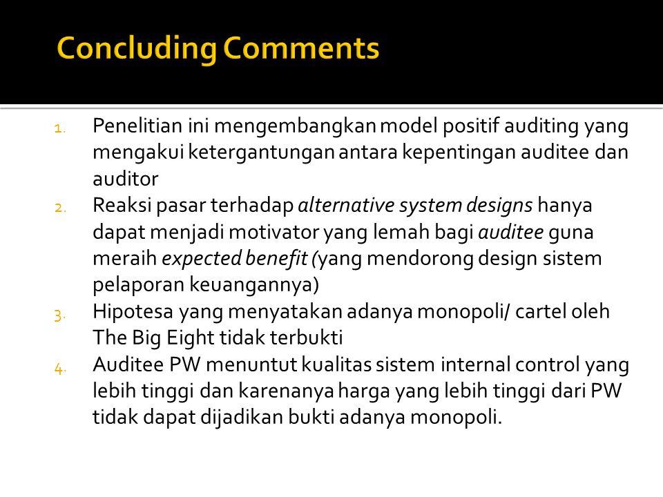 1. Penelitian ini mengembangkan model positif auditing yang mengakui ketergantungan antara kepentingan auditee dan auditor 2. Reaksi pasar terhadap al