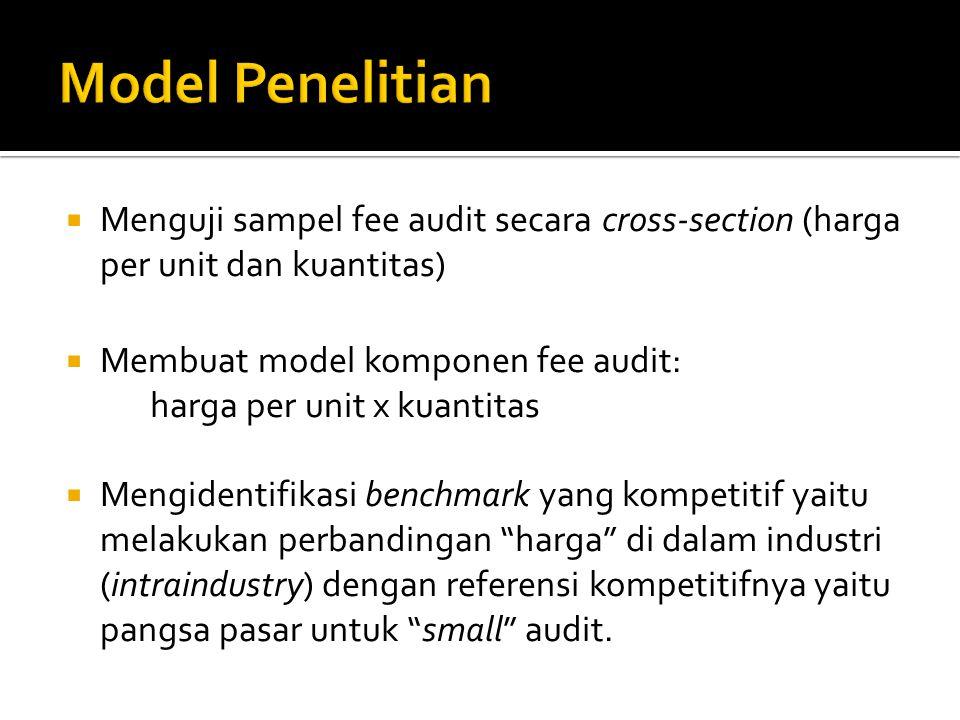  Jasa audit dianggap sebagai suatu komoditi bagi auditee yang memiliki substitusi dan komplementer.