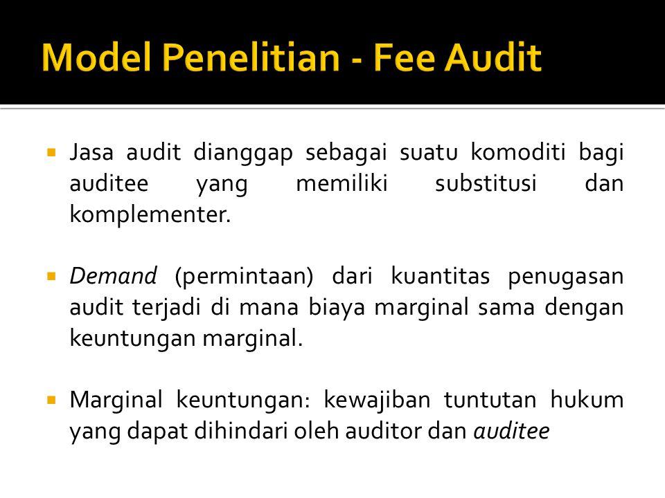  a: Kuantitas sumber daya yang digunakan langsung oleh auditee dalam kegiatan sistem akuntansi internal  q: Kuantitas sumber daya yang digunakan oleh eksternal auditor dalam melakukan pengujian audit  v: Biaya per unit dari sistem akuntansi internal auditee  c: Biaya per unit dari sumber daya audit eksternal, termasuk semua opportunity costs dan cadangan untuk normal profit.
