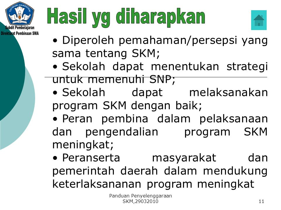 Panduan Penyelenggaraan SKM,2903201011 Diperoleh pemahaman/persepsi yang sama tentang SKM; Sekolah dapat menentukan strategi untuk memenuhi SNP; Sekol