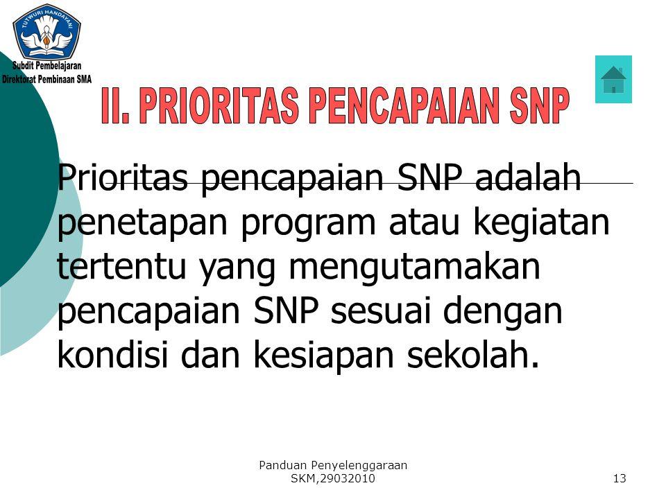Panduan Penyelenggaraan SKM,2903201013 Prioritas pencapaian SNP adalah penetapan program atau kegiatan tertentu yang mengutamakan pencapaian SNP sesua