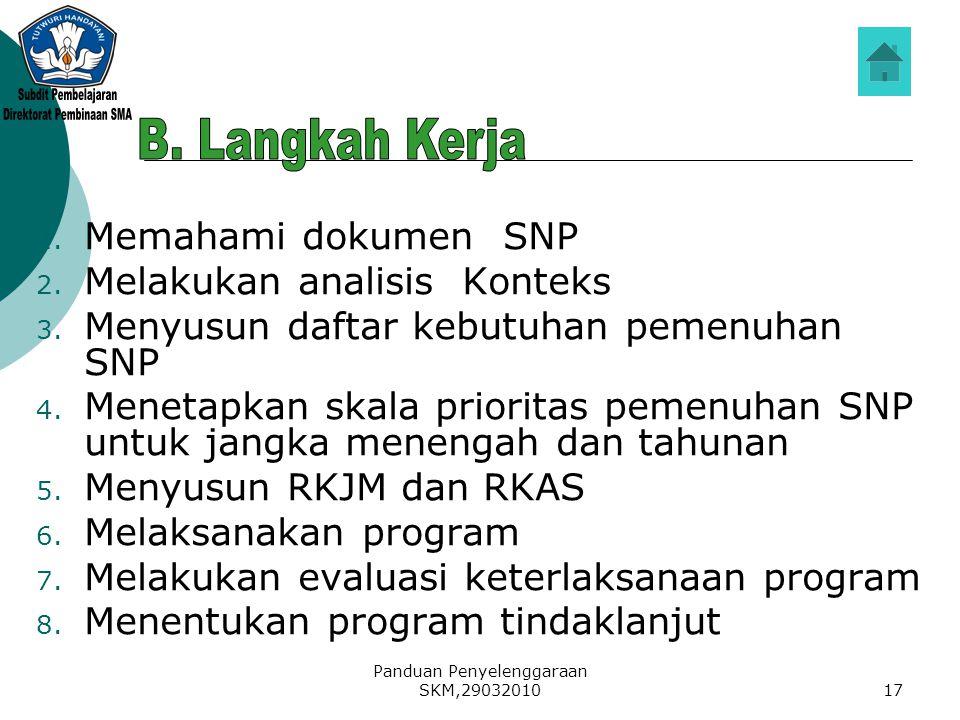 Panduan Penyelenggaraan SKM,2903201017 1. Memahami dokumen SNP 2. Melakukan analisis Konteks 3. Menyusun daftar kebutuhan pemenuhan SNP 4. Menetapkan