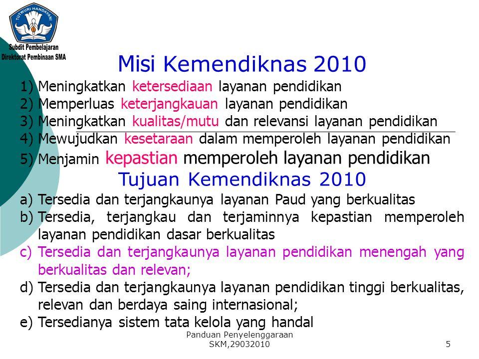 Panduan Penyelenggaraan SKM,290320105 Misi Kemendiknas 2010 1)Meningkatkan ketersediaan layanan pendidikan 2)Memperluas keterjangkauan layanan pendidi