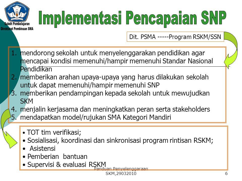 Panduan Penyelenggaraan SKM,290320106 Dit. PSMA -----Program RSKM/SSN 1.mendorong sekolah untuk menyelenggarakan pendidikan agar mencapai kondisi meme
