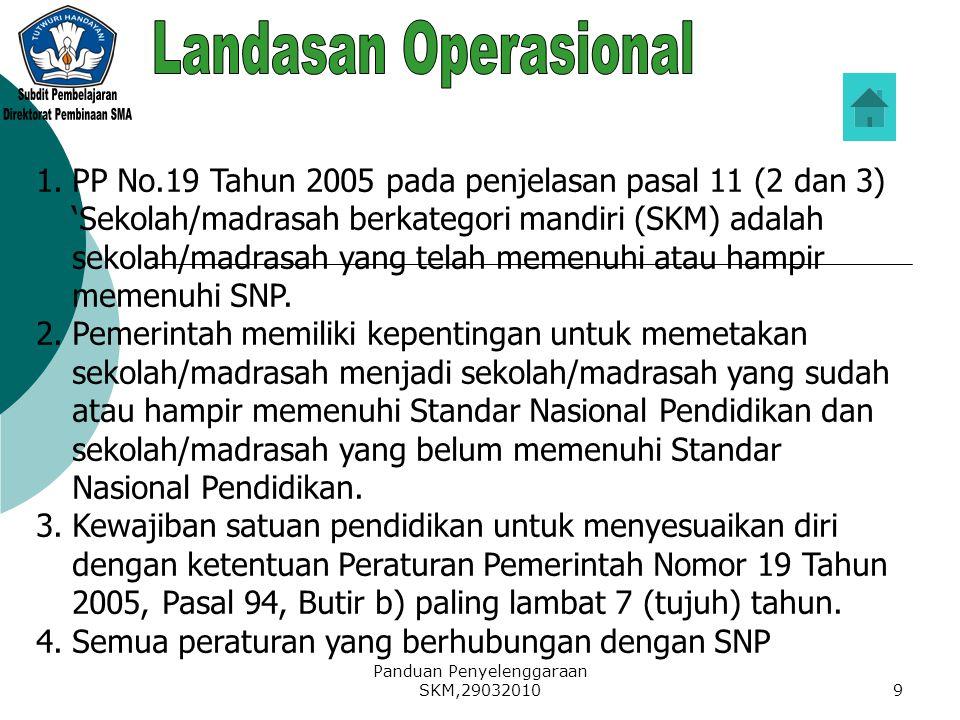 Panduan Penyelenggaraan SKM,290320109 1.PP No.19 Tahun 2005 pada penjelasan pasal 11 (2 dan 3) 'Sekolah/madrasah berkategori mandiri (SKM) adalah seko