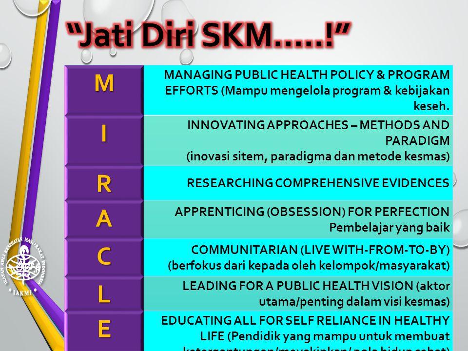 M MANAGING PUBLIC HEALTH POLICY & PROGRAM EFFORTS (Mampu mengelola program & kebijakan keseh.I INNOVATING APPROACHES – METHODS AND PARADIGM (inovasi s