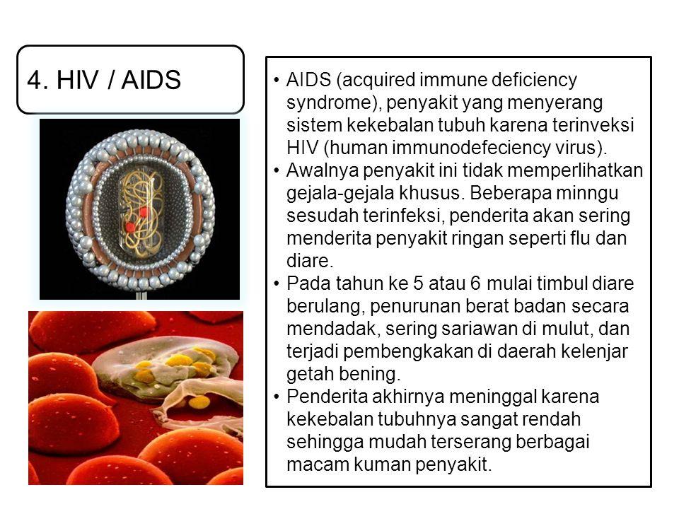 4. HIV / AIDS AIDS (acquired immune deficiency syndrome), penyakit yang menyerang sistem kekebalan tubuh karena terinveksi HIV (human immunodefeciency